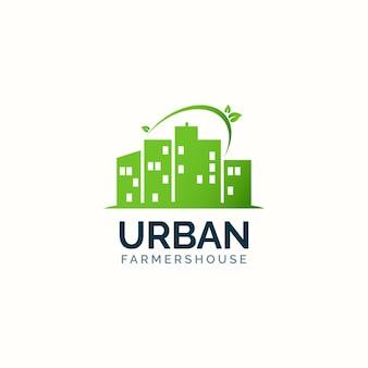 Conceito de design de logotipo de casa de fazenda urbana