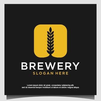 Conceito de design de logotipo de cervejaria. projeto de cervejaria universal.