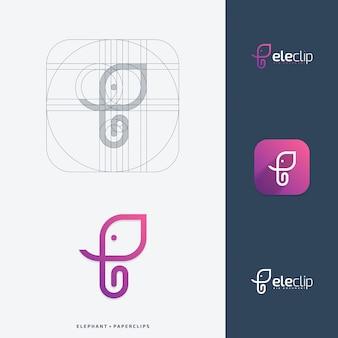 Conceito de design de logotipo de clipes de elefante.