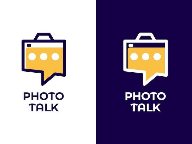 Conceito de design de logotipo de conversa fotográfica