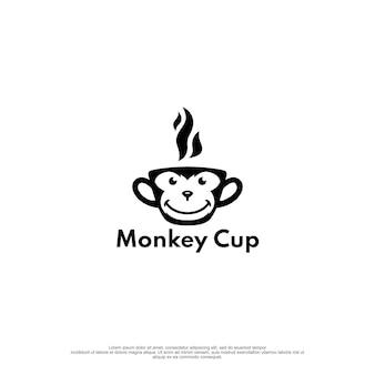Conceito de design de logotipo de copo de vidro de macaco