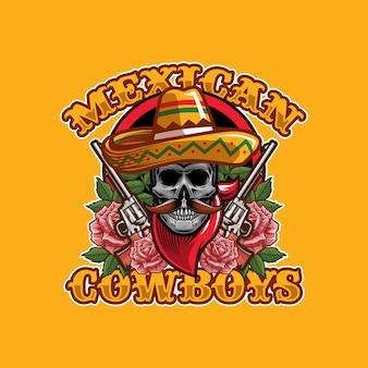 Conceito de design de logotipo de cowboys mexicanos no crânio
