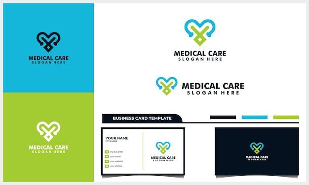 Conceito de design de logotipo de cuidados médicos de amor e estetoscópio e modelo de cartão de visita
