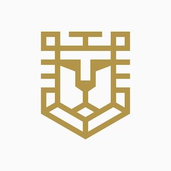Conceito de design de logotipo de escudo de leão