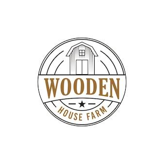 Conceito de design de logotipo de fazenda de casa de madeira