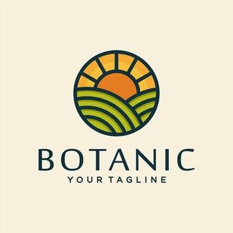 Conceito de design de logotipo de fazenda. design ao ar livre universal.