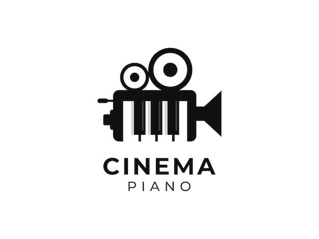 Conceito de design de logotipo de filme e piano