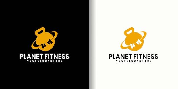 Conceito de design de logotipo de fitness mundial, modelo de logotipo de ginástica