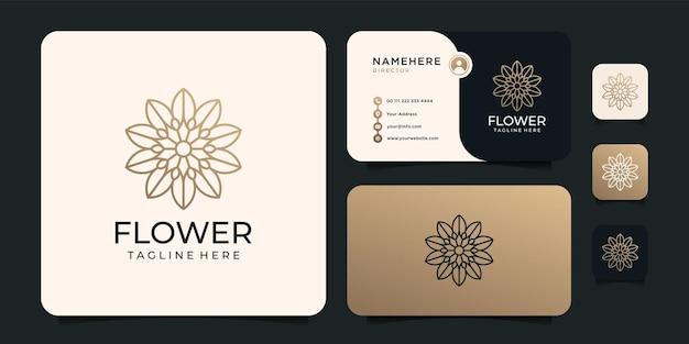 Conceito de design de logotipo de flor minimalista