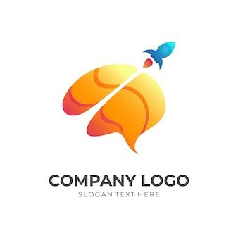 Conceito de design de logotipo de foguete cerebral, estilo 3d simples