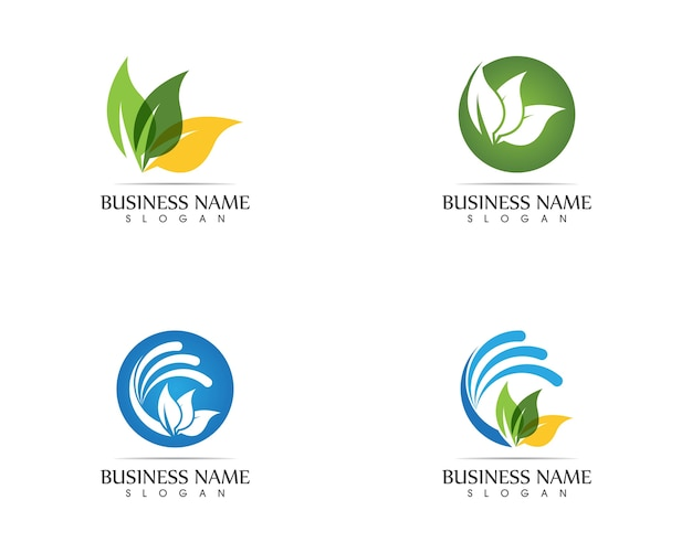 Conceito de design de logotipo de folha de natureza