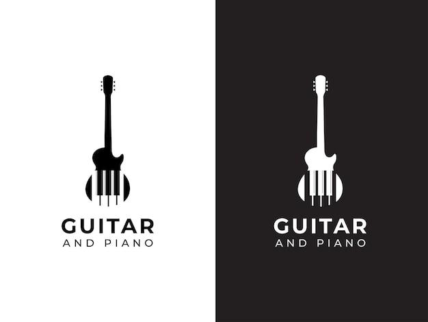 Conceito de design de logotipo de guitarra e piano