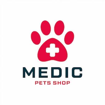Conceito de design de logotipo de loja de animais. logotipo da loja de animais médicos universal.