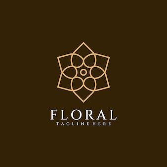 Conceito de design de logotipo de ornamento floral de mandala de monograma minimalista