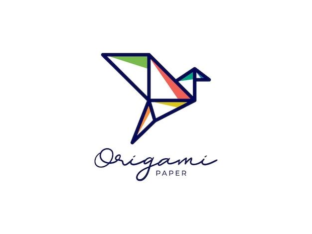 Conceito de design de logotipo de papel origami de pássaro