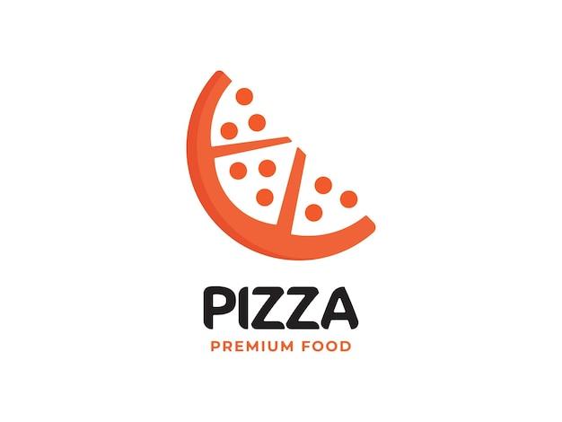 Conceito de design de logotipo de pizza Vetor Premium