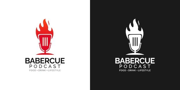 Conceito de design de logotipo de podcast churrasco