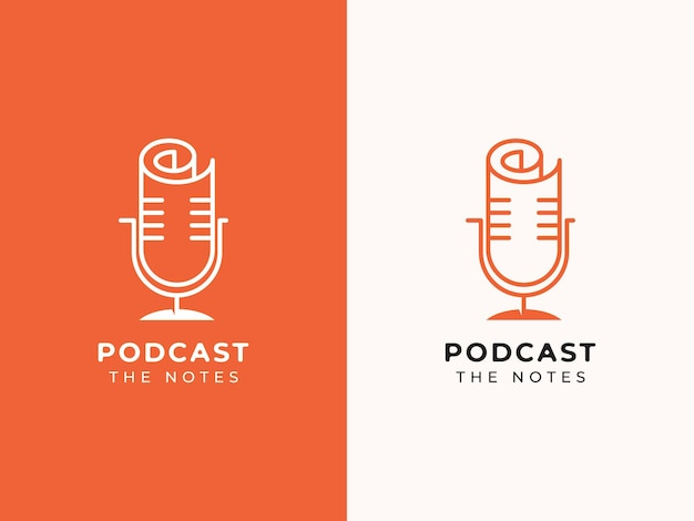 Conceito de design de logotipo de podcast e notas