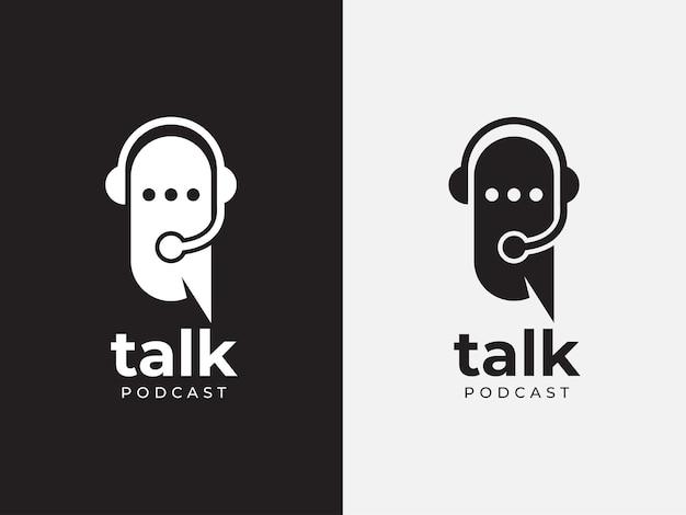 Conceito de design de logotipo de podcast talk