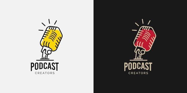 Conceito de design de logotipo de podcast