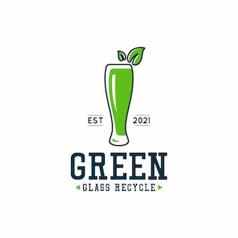 Conceito de design de logotipo de reciclagem de vidro verde