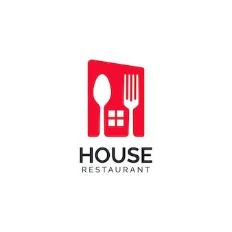 Conceito de design de logotipo de restaurante de casa