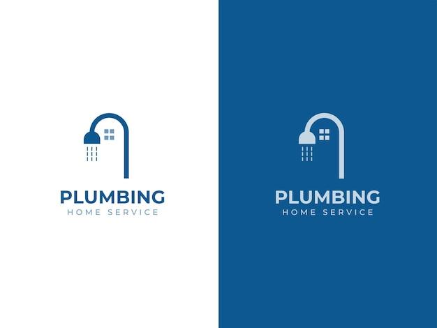 Conceito de design de logotipo de serviço doméstico de encanamento