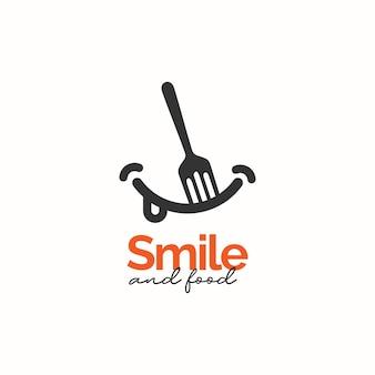 Conceito de design de logotipo de sorriso e comida
