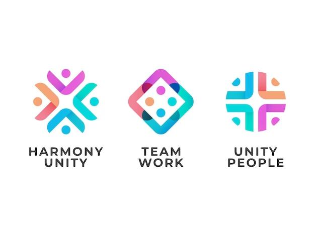 Conceito de design de logotipo de trabalho em equipe unidade pessoas