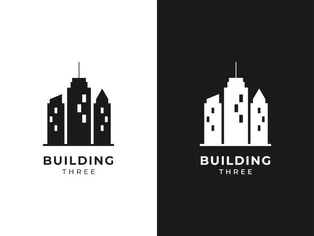 Conceito de design de logotipo de três edifícios