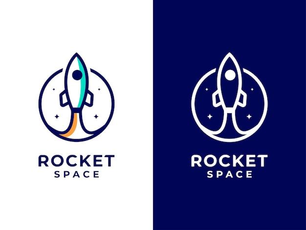 Conceito de design de logotipo do espaço foguete