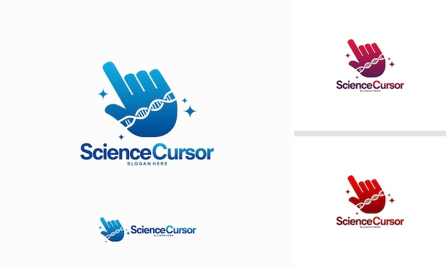 Conceito de design de logotipo do science cursor, vetor, ilustração em vetor modelo de logotipo helix cursor
