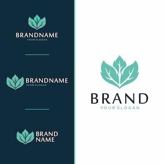Conceito de design de logotipo e ícone de folha.