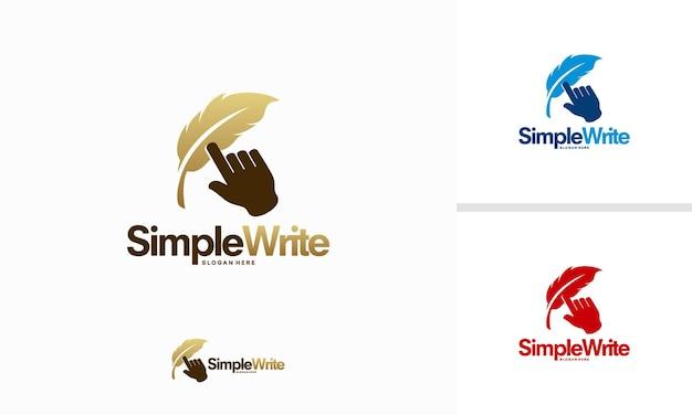 Conceito de design de logotipo simple write, símbolo de modelo de logotipo de empresa online, logotipo feather