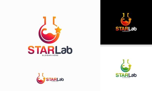 Conceito de design de logotipo star laboratory, vetor de modelo de logotipo shine glass laboratory