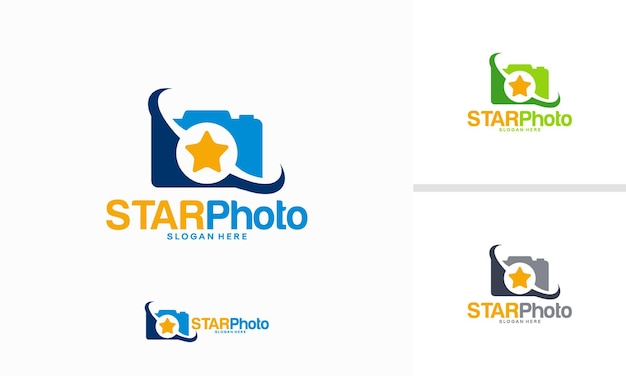 Conceito de design de logotipo star photography, vetor de modelo de logotipo lens star
