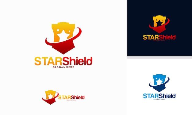 Conceito de design de logotipo star shield, vetor de modelo de logotipo elite shield
