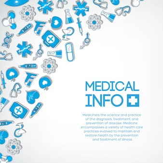 Conceito de design de medicamento com texto e adesivos azuis de papel médico na luz