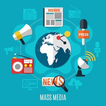 Conceito de design de mídia de massa