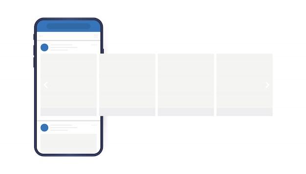 Conceito de design de mídias sociais. smartphone com interface de carrossel post na rede social. moderno estilo plano