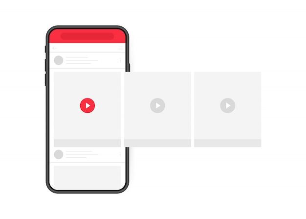 Conceito de design de mídias sociais. smartphone player de vídeo com carrossel de interface na rede social. moderno estilo plano