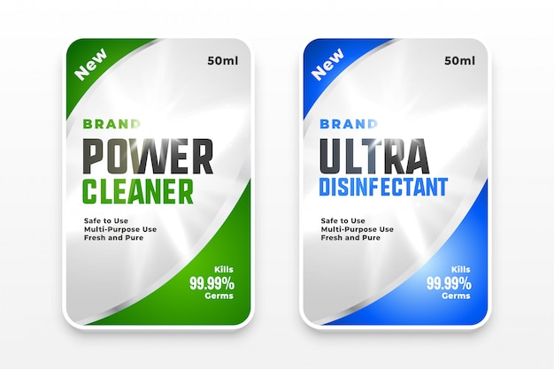 Conceito de design de modelo de etiquetas desinfetante e limpador