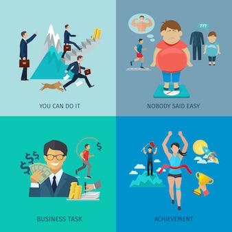 Conceito de design de motivação definido com tarefa de negócios e realização de ícones planas