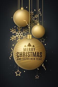 Conceito de design de natal com decorações de bolas douradas penduradas, confetes, enfeites, flocos de neve, estrelas. capa, modelo, cartaz de festa ou folheto de natal e ano novo. ilustração vetorial. eps 10