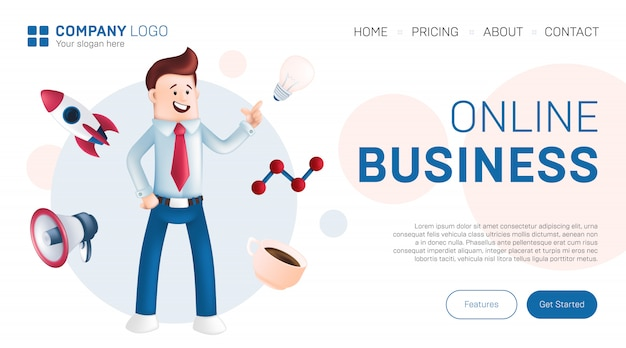 Conceito de design de página de destino de negócios on-line. ilustração de gerente de escritório sorridente, vestido com uma camisa azul com gravata, mostrando uma lâmpada com ícones ao seu redor - foguete, copo, megafone