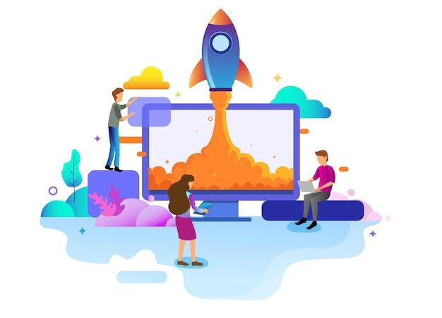 Conceito de design de página inicial de negócios de inicialização, estratégia de negócios, análises e brainstorming. conceitos de ilustração vetorial para design de sites ui / ux e desenvolvimento de sites móveis.