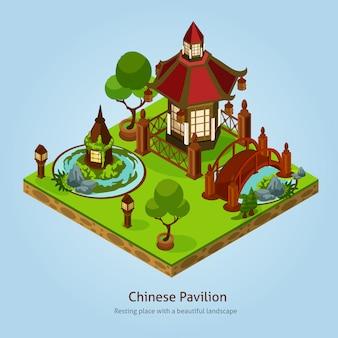 Conceito de design de paisagem de pavilhão chinês
