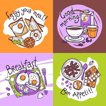 Conceito de design de pequeno-almoço