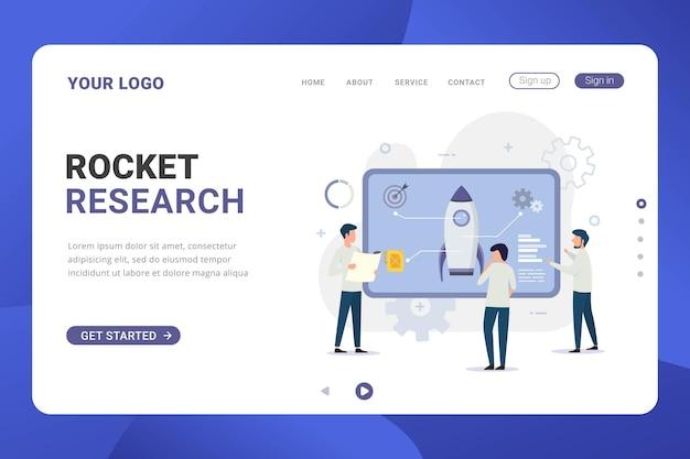 Conceito de design de pesquisa de foguete de modelo de página de destino