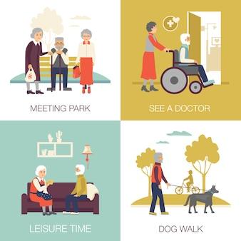 Conceito de design de pessoas de idade avançada 2 x 2